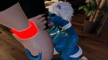 Hentai em 3d safadinha toda azul dando a sua buceta